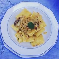 Paccheri gragnano with Genovese stockfish and grains tarallo