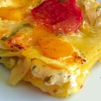 Baked pasta with peppers