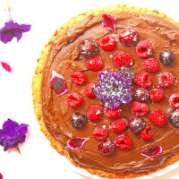 Chocolate tart with sweet potatoes veg and gluten free