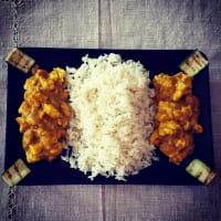 Pollo con arroz basmati azafrán
