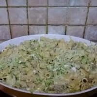 Rigatoni con el calabacín y la cebolleta paso 1
