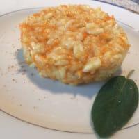 risotto de calabaza y toma fresco de la montaña