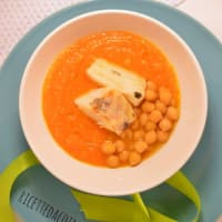 Cream of pumpkin and chickpeas with cod