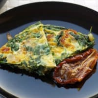 Omelet with kale and dried tomatoes