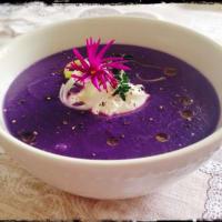 col Crema de tapa púrpura