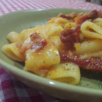 calabaza Calamarata y tomates secos