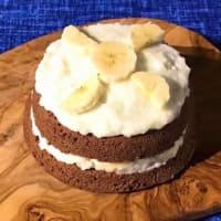 Mugcake de coco, cacao y plátano