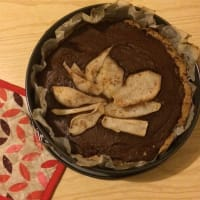 Buckwheat tart with ricotta cream, chocolate and pears