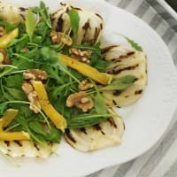 grilled fennel with arugula and walnuts