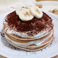 Pancake banana and hazelnut tiramisu