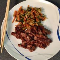 Las tiras de carne de vacuno Oriental