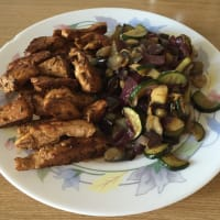 of vinegar Sliced ​​chicken with vegetables