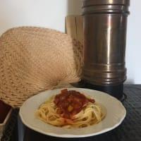 Tallarines con salsa de pimientos