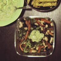 broccoli salad, beans and carrots with yogurt and avocado salsa