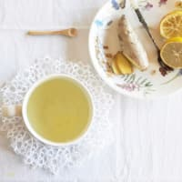 Detox herbal tea with ginger and lemon