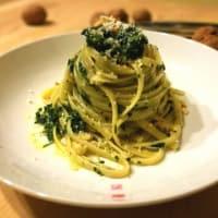 Linguini con espinacas pesto y nueces