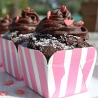 Muffin with chocolate ganache