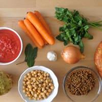 sopa de invierno con lentejas y garbanzos paso 1
