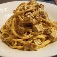 vegetariana Espagueti Carbonara