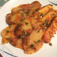 Trancetti cod with tomato sauce and capers with potatoes