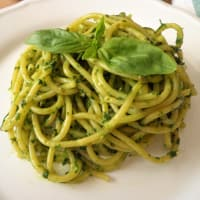 Spaghetti with salsa verde