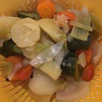 Flan patatas con caldo de las verduras paso 1