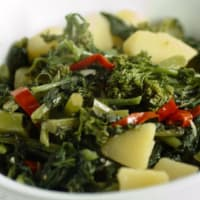 Turnip greens and potatoes