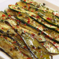Eggplant and zucchini grilled with capers and oregano
