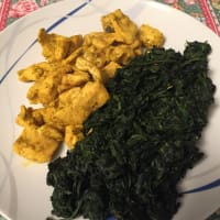Chicken with spinach turmeric pepper