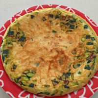 Omelette with zucchini chickpeas