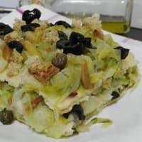 Sformato di pane carasau e scarola alle olive e capperi