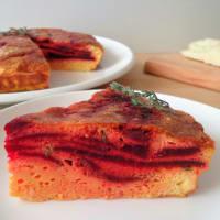 Tortilla con remolacha y queso de oveja al horno