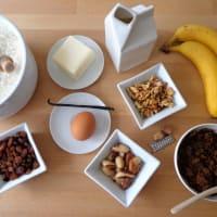 pastel de plátano, nueces y pasas paso 1