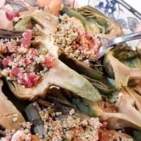 Significa gratinado de alcachofa con las aceitunas, tocino y pan de trigo integral paso 4