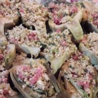 Significa gratinado de alcachofa con las aceitunas, tocino y pan de trigo integral paso 5