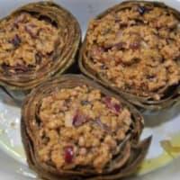 Violetas al horno alcachofas rellenas paso 5