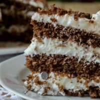pastel de chocolate con crema de leche y trocitos de chocolate