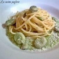 Espaguetis con habas frescas