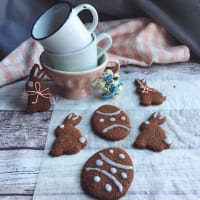 Easter bunnies with chocolate vegan cookies