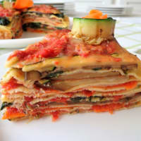 Cake crepes with grilled vegetables