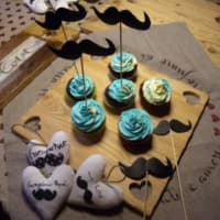 Chocolate cupcakes with a mustache