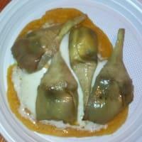 tortilla de maíz rellena con mozzarella y alcachofas en aceite hecho en casa paso 2