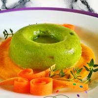 guisantes flan veganos al olor de la piel de naranja
