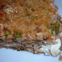 arroz al horno con guisantes y salchichas queso cottage