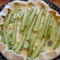 Salted cake with gluten-free pasta, taleggio and asparagus step 6