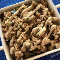 Barley porridge with tuna, eggplant and tahin