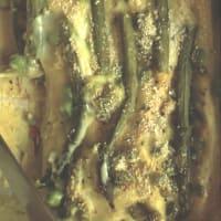 guisantes blancos y lasaña de espárragos