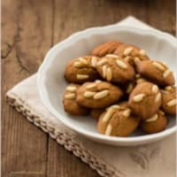 Madeleines with chestnut and pine nuts