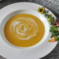 Cream of pumpkin with coconut milk and orange