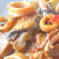 Calamarata of paccheri and mushrooms